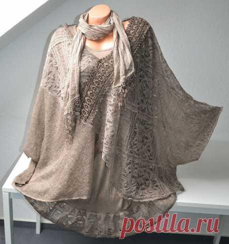 Lagenlook SET Strick Tunika PONCHO Unterkleid Farben EG ca 46 48 50 ITALY NEU | eBay