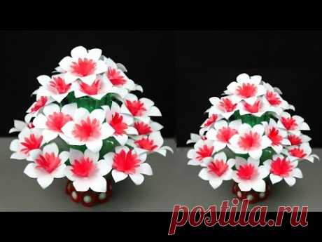 Make Beautiful Paper flower | Empty plastic bottle vase making crafts || Make Wonderful Guldasta