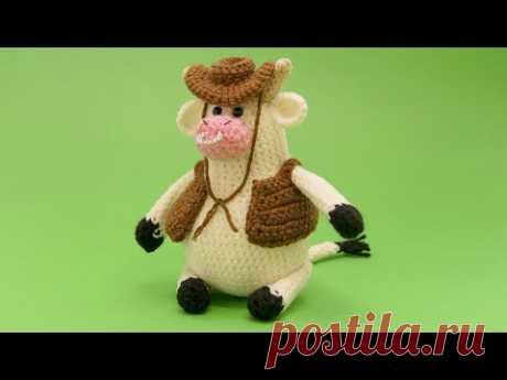 МК Ковбойский наряд для бычка. Вязаная крючком жилетка и шляпа для игрушки.