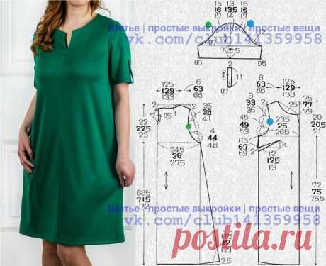 Платье прямого силуэта, с короткими рукавами. Выкройка на размеры 40/42, 44, 46/48 (рос.). #простыевыкройки #простыевещи #шитье #платье #выкройка