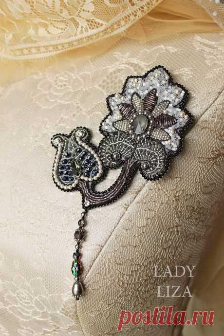 Вышиваем брошь «Ночной цветок» бисером и канителью – Ярмарка Мастеров