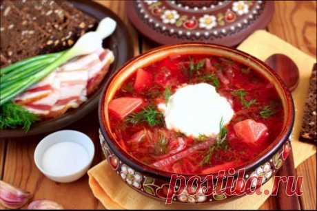 Классический борщ - домашний рецепт с мясом и квашеной капустой
