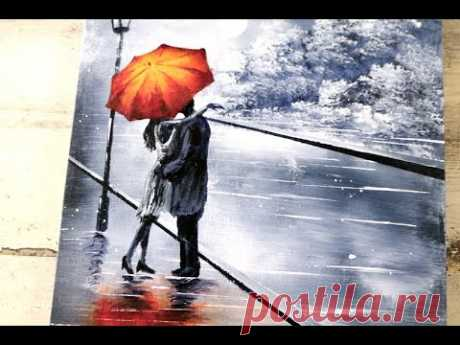 Couple under Umbrella | Black and White Landscape | Easy Abstract Art | Acrylics - YouTube