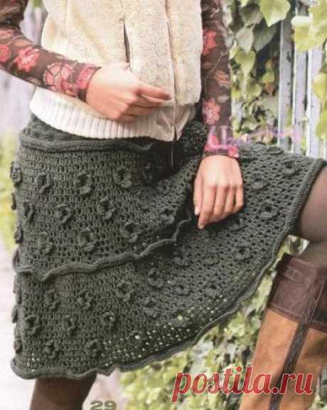 Филейная юбка с кокеткой из кос - Описание вязания, схемы вязания крючком и спицами | Узорчик.ру