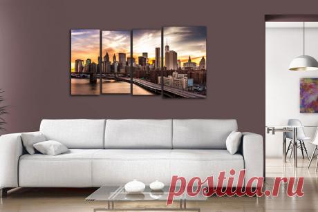 Купить модульную картину закат в нью йорке + подарок