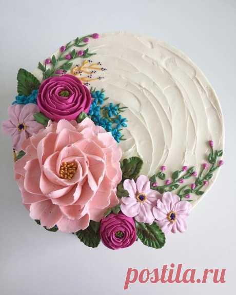 Прекрасные цветочно-весенние тортики.  Вообще назначение человека - превращать любое место, куда ступит его нога, в цветущий сад.  Братья Стругацкие