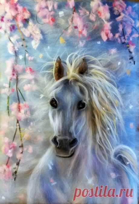 Картины из шерсти: лошади — DIYIdeas