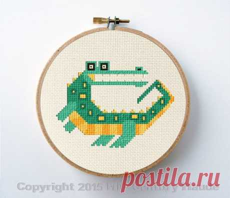 Crocodile cross stitch pattern alligator mid century modern   Etsy