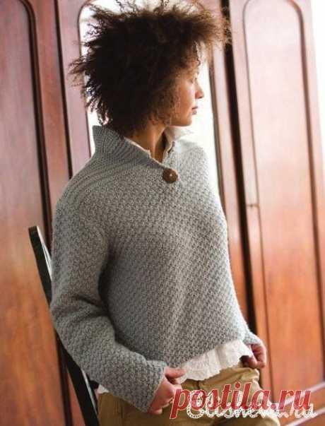 Серый джемпер с воротником-стойкой вязаный спицами