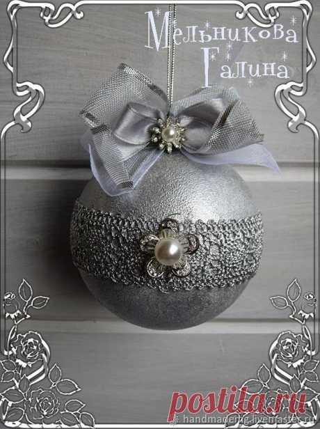 Набор ёлочных игрушек: Морозное серебро – купить на Ярмарке Мастеров – MV602RU | Елочные игрушки, Москва