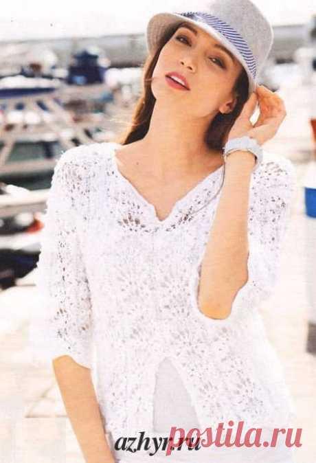 Ажурный белый пуловер (связан спицами) | АЖУР - схемы узоров