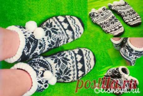 Домашние носки-тапочки угги вязаные спицами и крючком | Блог elisheva.ru