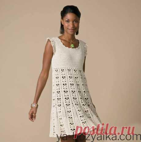 Платье с ажурной юбкой крючком. Красивое вязание крючком с описанием