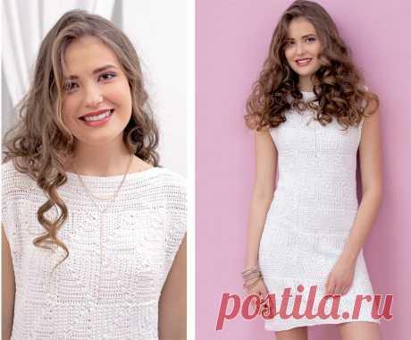 Белое платье из квадратов (крючок)