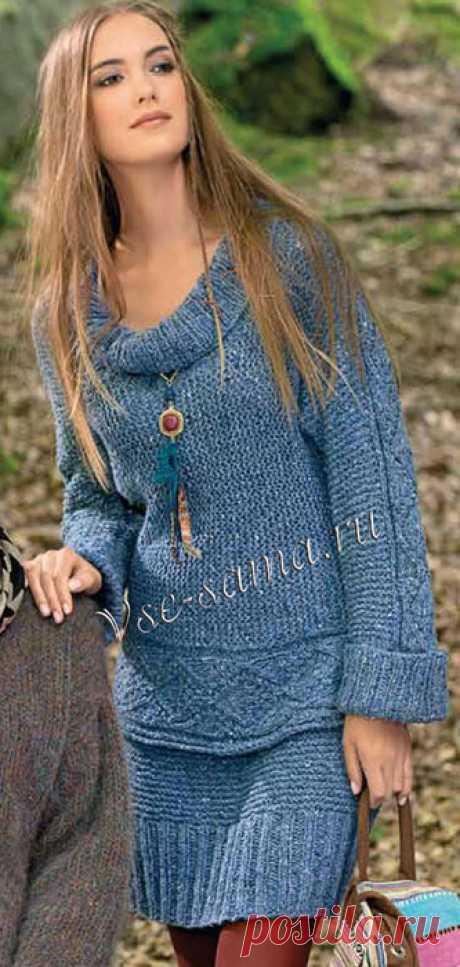 Меланжевый пуловер и юбка