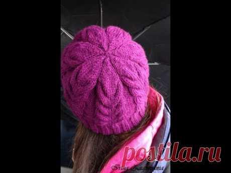 Шапка спицами-красивым узором.Подробный мастер класс по вязанию шапки с косами