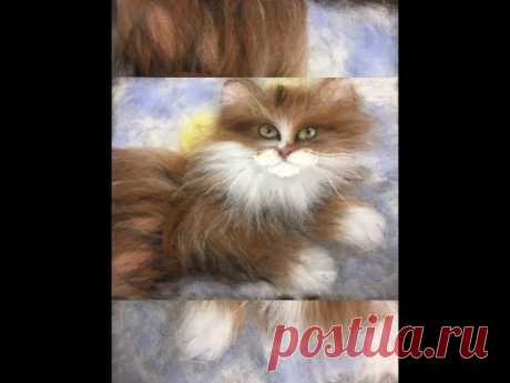 """ЖИВОПИСЬ  ШЕРСТЬЮ """" КОТИК"""" / FELTING of  PICTURE /  HOW TO MAKE A PICTURE of  WOOL"""