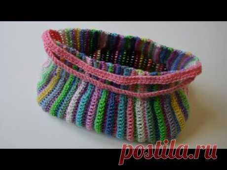 Радужная сумка крючком или вяжем из остатков пряжи