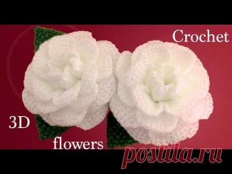 Como hacer flores en 3D Camelias a Crochet con hojas tejido tallermanualperu