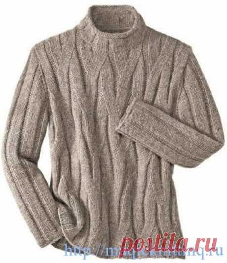 Красивый мужской свитер спицами.