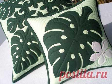 Подушки с эффектными листьями монстеры — DIYIdeas