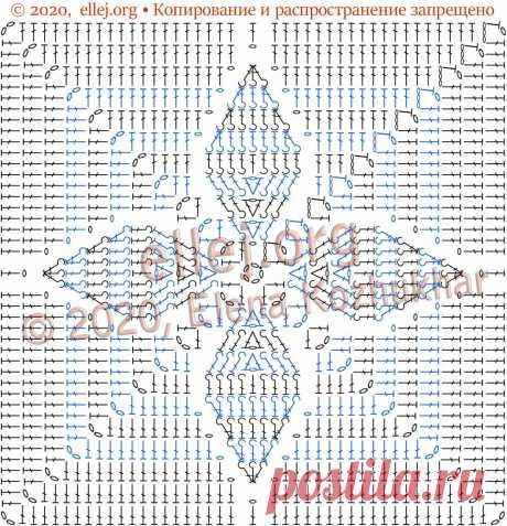 Квадратный мотив с рельефными листочками для пледа   Вязание крючком от Елены Кожухарь