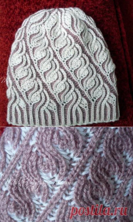 Женская шапка в технике Brioche Stitch - Modnoe Vyazanie ru.com