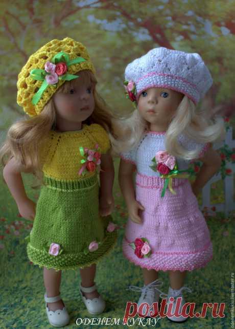 Купить Платье с беретом на куклу ростом 35 см - платье, для кукол, платье для куклы