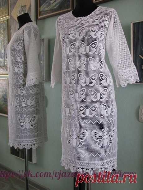 Филейное платье с бабочками Автор - Зоя Семенова