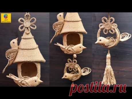 DIY Hanging Showpiece with Jute and Plastic bottle | Home Decoration using Jute | Jute Craft Idea - YouTube