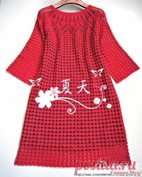 Ярко красное соблазнение. Платье с круглой кокеткой. - Все в ажуре... (вязание крючком) - Страна Мам