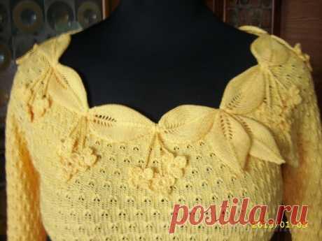 Летний пуловер спицами «Кокетка» (Вязание спицами) | Журнал Вдохновение Рукодельницы