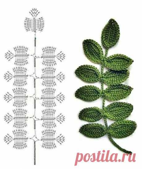 Коллекция листиков и веточек № 1 - схемы элементов ирландского кружева - Lilia Vignan