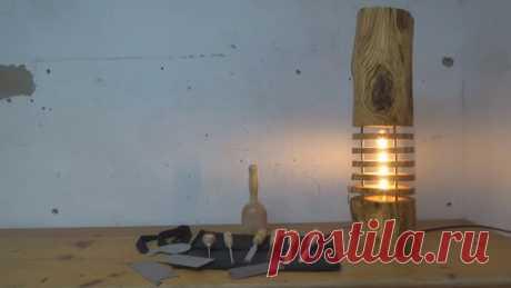Светильник из бревна в индустриальном стиле