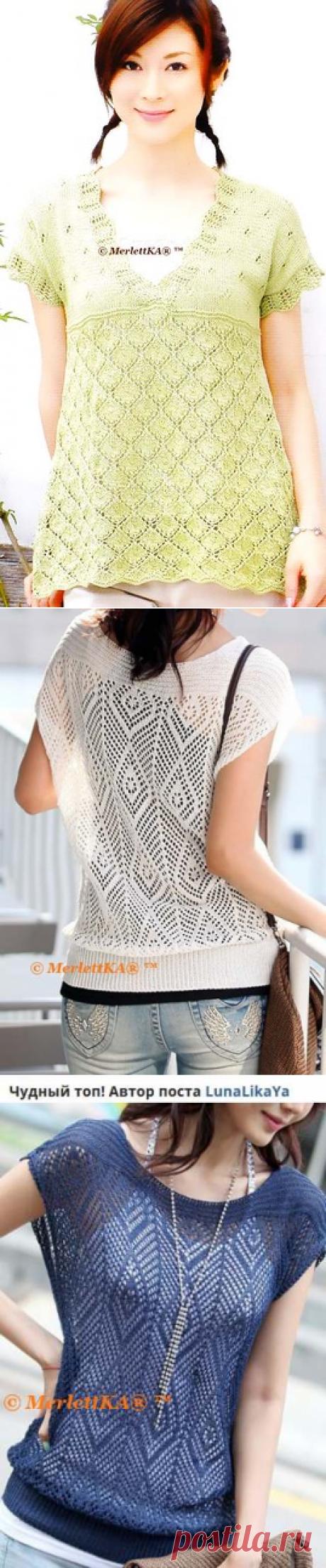 Два топа на лето, которые можно довязать в тунику или платье ☆ вязание спицами