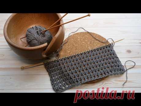 Легкая сетка на резинке спицами Rib Mesh Stitch knitting pattern