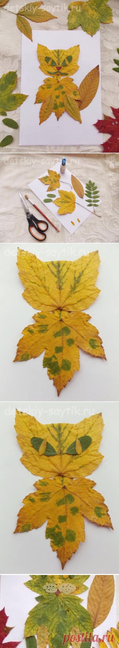 Аппликация Кот из осенних листьев   Детский сайтик