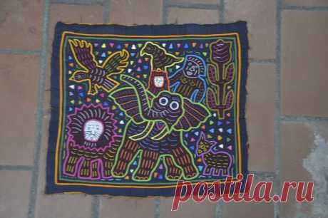 460. ELEPHANT SMALL MOLA Textile Art San Blas Panama 460 | Etsy