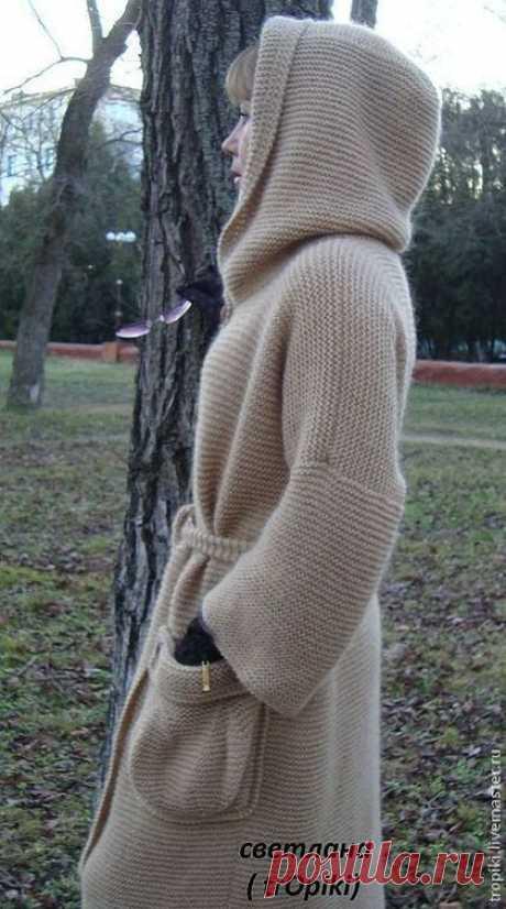 """Купить Пальто вязаное """" Любимое"""" с капюшоном. - бежевый, пальто, пальто вязаное, пальто женское"""