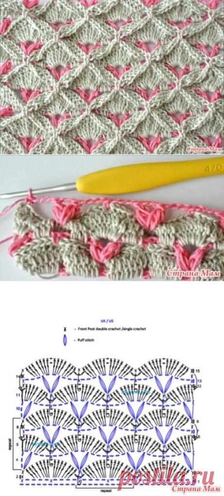 Вязание крючком веера и ракушки