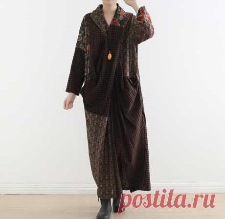 Women dress Linen splice long dress Loose fitting dress | Etsy