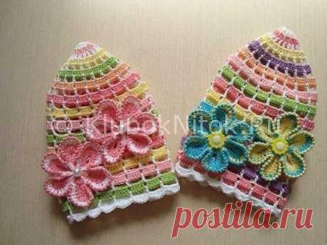 Летняя шапочка для малышки «Веселая радуга» (Вязание крючком) – Журнал Вдохновение Рукодельницы