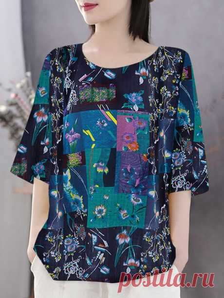 Bohemian Print Half Sleeve Plus Size T-shirt - Newchic