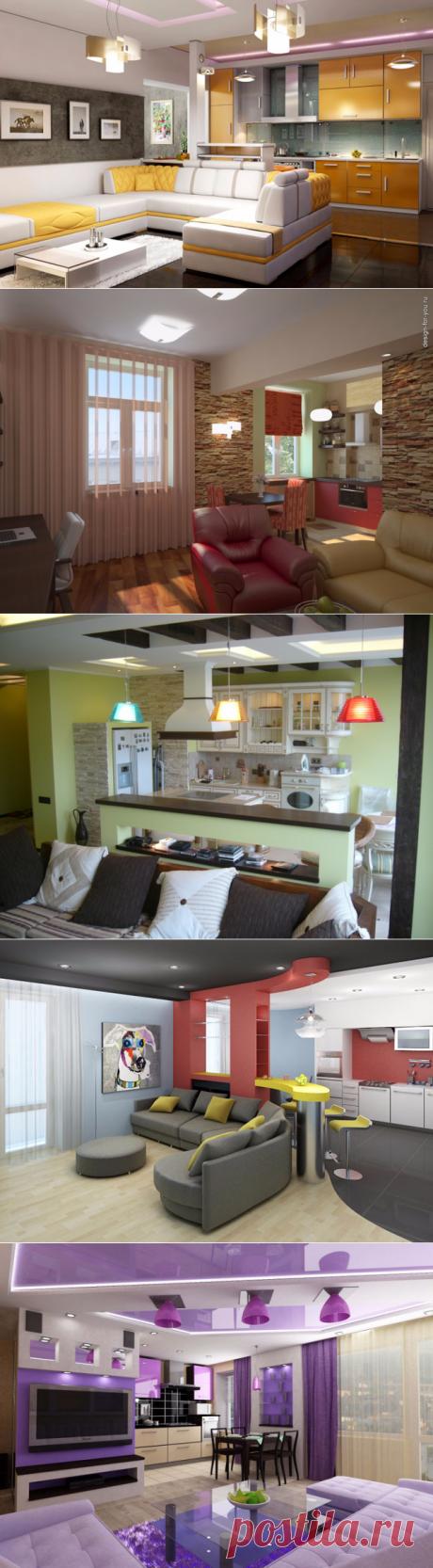 Кухня совмещенная с гостиной - привлекательно и просторно.