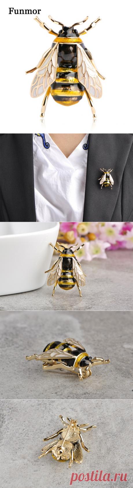 Funmor Шмель брошь корсаж эмаль esmalte крыло насекомого Шапки шарф Зажимы Интимные аксессуары Для женщин Для мужчин бутоньерка животного Броши купить на AliExpress