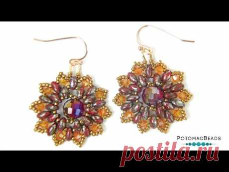 Fall Florals Earrings - DIY Jewelry Making Tutorial by PotomacBeads