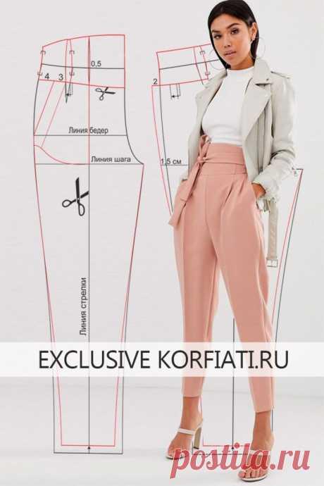 Выкройка брюк с поясом корсетного типа