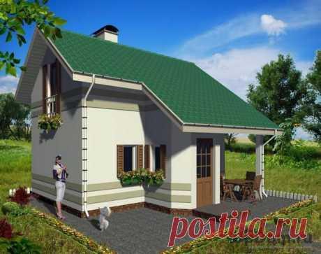 Проект дома «Дачка»: маленький домик 46 кв.м с сауной