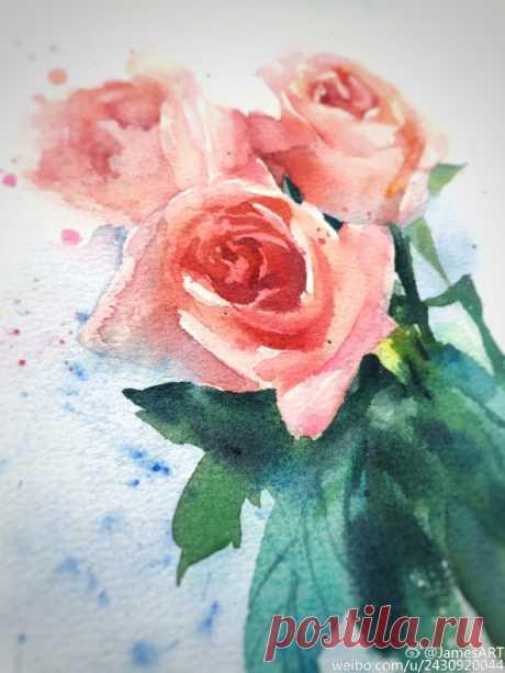 Рисуем розы акварелью — Сделай сам, идеи для творчества - DIY Ideas