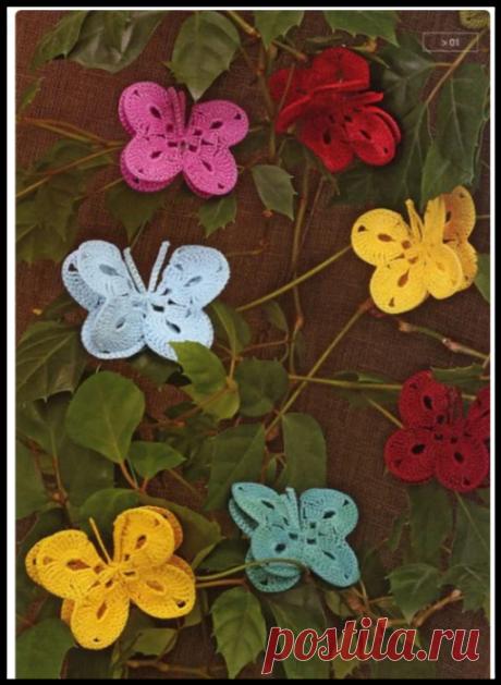 Очень яркие и красивые вязаные бабочки - схемы, идеи, воплощения + ажурный зонт с бабочками
